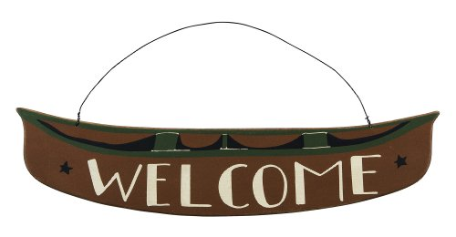 Country Cabin Canoe Welcome Wall Sign - 19-in