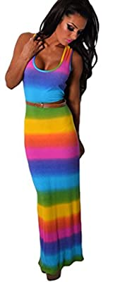 Memory Tea Elegant Maxi Round Neck Sleeveless Sexy Colorful Rainbow-striped Dress