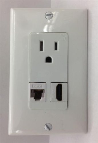 Certicable Custom White Single Gang Wall Plate +Hubbell Ac 15A 110V Power Outlet + Hdmi V1.4 Ethernet+ Cat-6