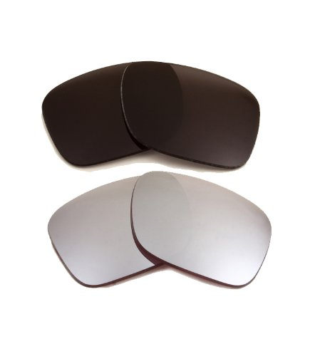 New SEEK OPTICS Replacement Lenses for Oakley HOLBROOK - Grey & Silver Mirror Combo