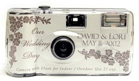 10 Pack Personalized Silver Rose Wedding Cameras - Matching Table Cards Included - 27 Exposures - Built-in-flash - 35mm - 400 ISO Film