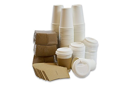 Disposable Paper Coffee Cups with Lids and Plain Sleeves 12oz 50 Pack