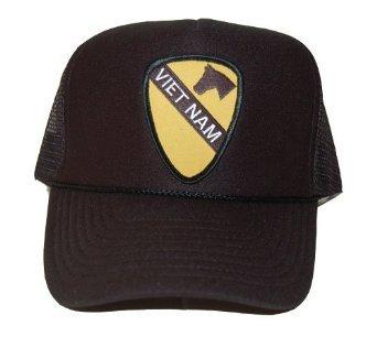 New Vintage Military Trucker Hat Cap - Black Mesh, 1st Cavalry