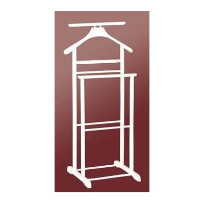 Butler's Solid Wood Clothes Stand / Valet Rack / Coat Hanging Rail (White Colour)