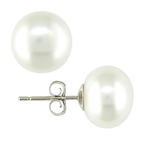 Stainless Steel Freshwater White Pearl Earrings With Hypoallergenic Backs (7.5-8 mm)