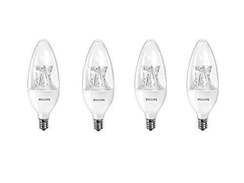 Philips 458687 60W Equivalent Dimmable B12 Decorative Candle LED Light Bulb with Warm Glow Effect (4-Pack) (Dimmable Led Candelabra Bulb compare prices)