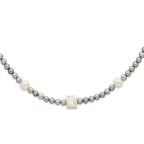 Sterling Silver Grey & White Cultured Pearls & Mother of Pearl Necklace Real Goldia Designer Perfect Jewelry Gift for Christmas