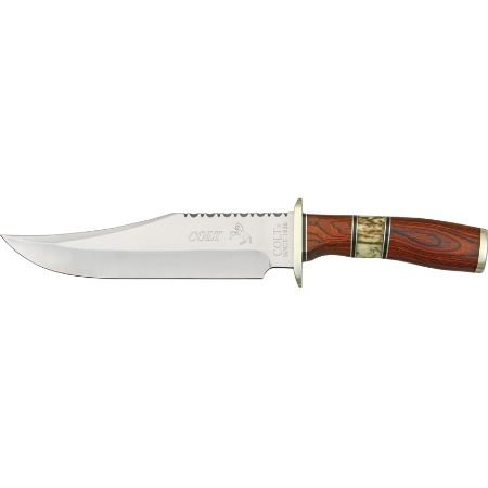 Colt 326 Bowie Fixed Blade Knife w/ Brown Pakkawood and Stag Rounded Handle