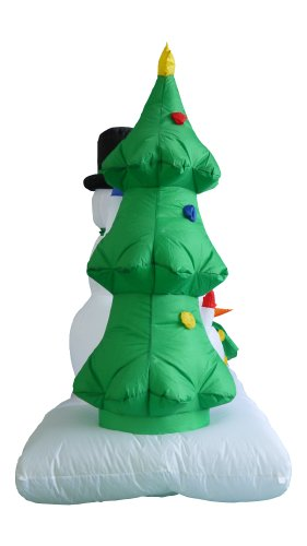 8-Foot-Wide-Inflatable-Snowmen-Family-with-Penguin-and-Christmas-Trees-Party-Decoration