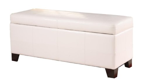 Modus Furniture MLA493F Upholstered Milano Storage Bench, White Leatherette