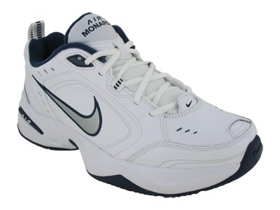 Nike Nike Men's Nike Air Monarch IV Training Shoes 9 (White/Metallic Silver-Mid Navy)