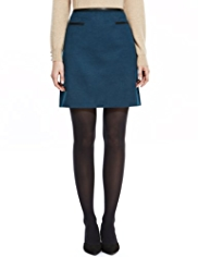 M&S Collection 2 Welt Pockets Mini Skirt with Wool