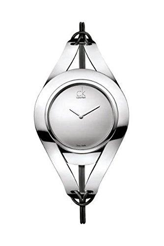 Calvin Klein K1B33108 - Reloj analógico de cuarzo para mujer con correa de piel, color negro