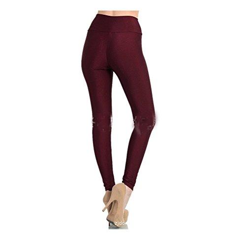 Wiipu Fashion Tall Waist Fluorescence Zipper Tight Leggings(Lez175)Wine Red