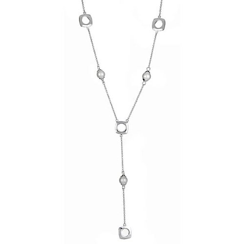 Sterling Silver Cushion Pearl Drop Necklace