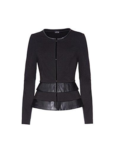 Oltre: giacca donna con inserti in similpelle. Nero, taglia 46