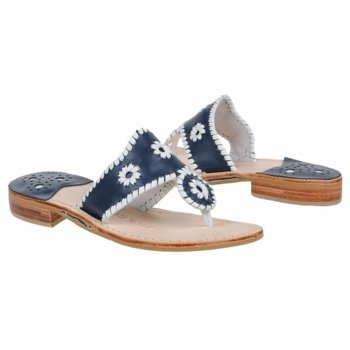 Jack Rogers Women's Palm Beach Navajo Sandal,Navy/White,7 M US