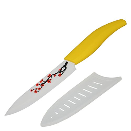 Kitchen Knives 5 Inch Ceramic Chef Utility Knife With Plum Blossomr +Knife Sheath