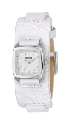 Fossil JR1159 Ladies White Leather With Imprint Detail White Dial Fashion Watch