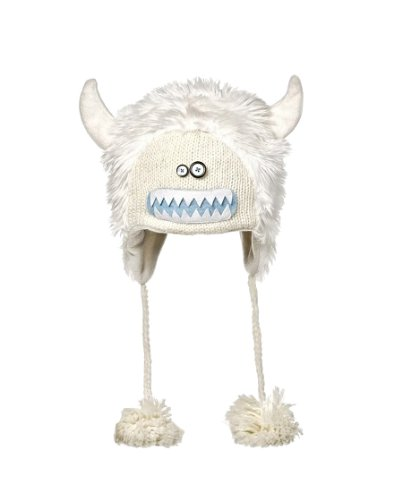 [Kids Yeti White Knitted Hat with Ears] (Yeti Costume For Kids)