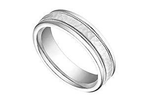 6MM Comfort Fit Fancy Rope Wedding Band : 14K White Gold Size 10.5