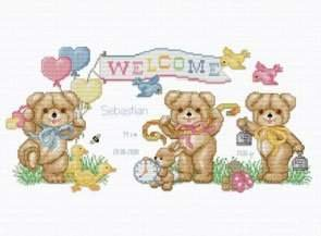 Beary Baby Announcement, Cross Stitch from Ellen Maurer Stroh