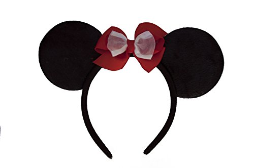 Minnie Mouse Ears Headband with Custom Red Bow (Childrens or Adults)