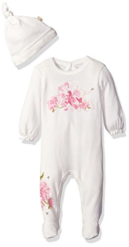 Burt's Bees Baby Girls' Waterlily Organic Coverall + Hat Set, Vanilla Cream, 3-6 Months