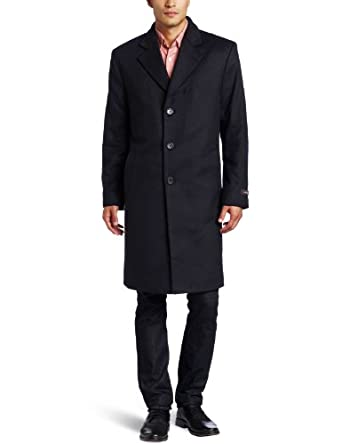 Michael Kors Men's Madison Top Coat, Black, 44 Regular