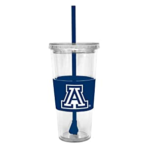 Buy NCAA Arizona Wildcats 22 Ounce Insulated Tumbler with Rubber Sleeve and Stir Straw by Boelter Brands