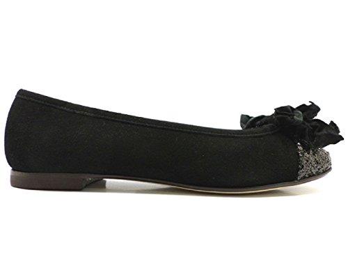 Scarpe donna LE BABE 37 ballerine nero camoscio paillettes AT251
