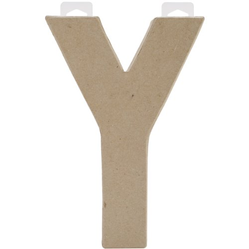 Paper Mache Letter - Y - 8 X 5.5 X 1 Inches