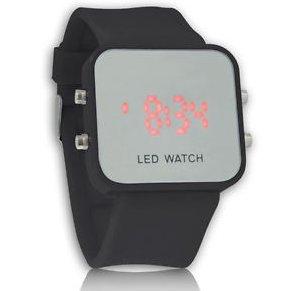 Led Display Silicone Gel Mirror Digital Date Sport Unisex Wrist Watch Black