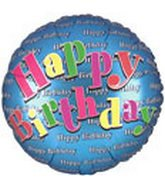 18 Inch Bday Blue Embossed - 1
