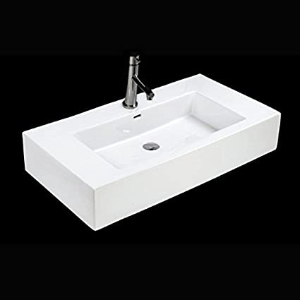 "Vanity top or vessel stone lavatory with an overflow. Unfinished back. W: 36 3/4"", D: 19 3/4"", H:7"". Alaible in zero faucet holes, one faucet hole, or 3 faucet holes in 8"" spread."