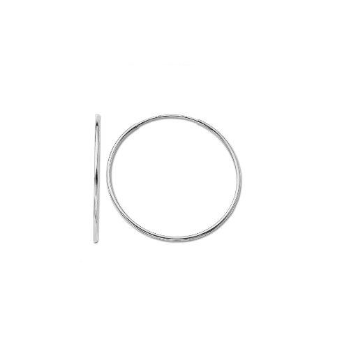 """Klassics 10k White Gold Endless Hoop Earrings, (0.55"""" Diameter)"""
