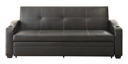 Homelegance 4838 Convertible/Adjustable Sofa Bed, Black Bi-Cast Vinyl front-1073768