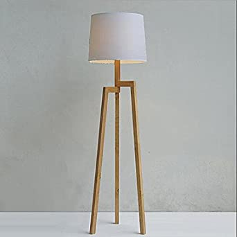 wooden tripod floor lamp with fabric shade lighting. Black Bedroom Furniture Sets. Home Design Ideas