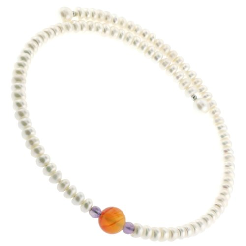 Excellent Quality Freshwater Pearl Button Choker Necklace on Memory Wire with Center Carnelian Semi-Precious Stone- 7.5mm Pearls