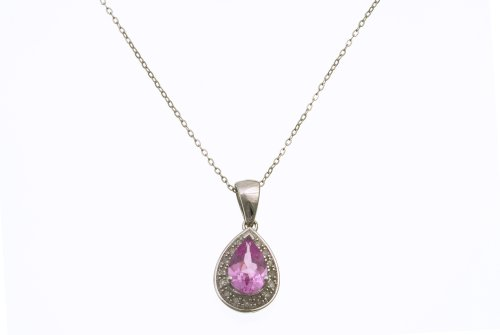 Ladies' Diamond and Sapphire Pendant Necklace, Prong Set, 9ct White Gold Trace Chain, 46cm Length, 0.1 Carat Diamond Weight, Model PP3061