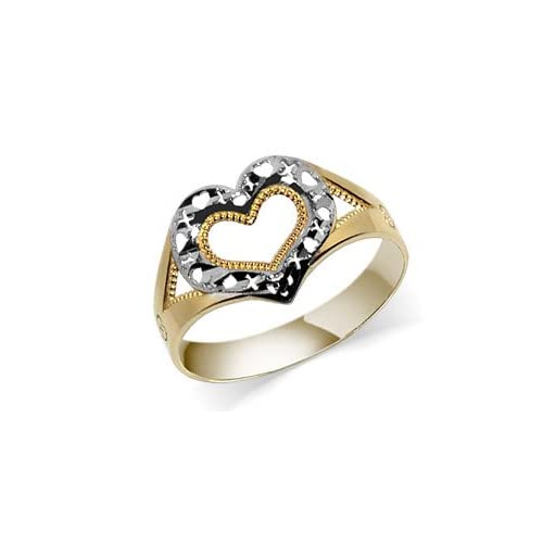 Womens Exquisite 10 KT Two Tone Diamond Cut Heart Band 10K Ring