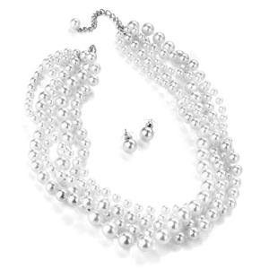 New Ladies 5 Row White Pearl Necklace And Earring Set
