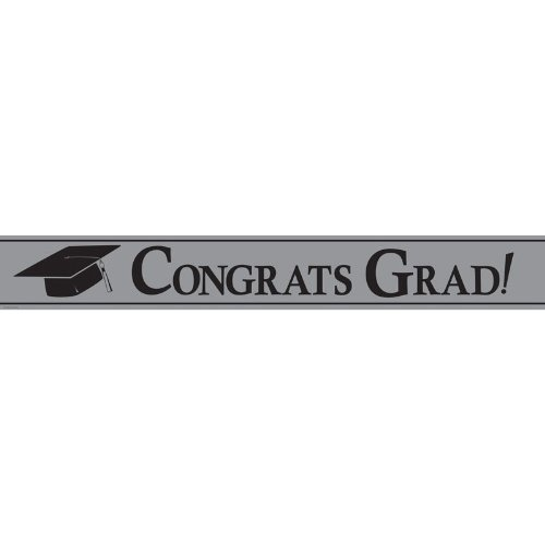 Creative Converting Paper Art Foil Banner, 24 by 5-Inch, Congrats Grad, Silver
