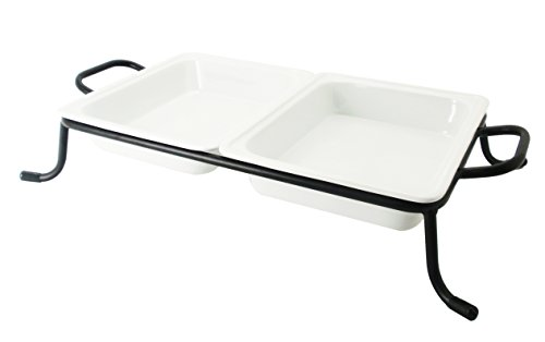 Cac China Bf-G212 Food Pans Two Bright White Porcelain 1/2 Gn Pans On Rack, 12-3/4 By 10-3/8 By 2-1/2-Inch, 4-Pack