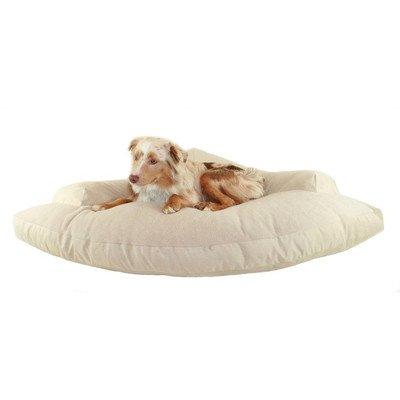 Corner Dog Bed With Bolster Fabric: Khaki/Oatmeal Berber