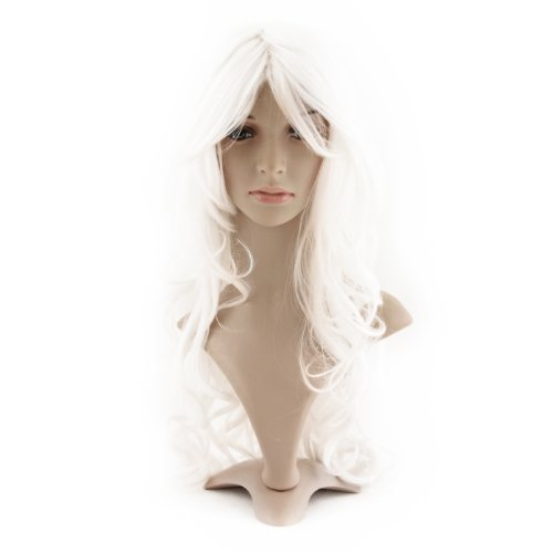 Taobaopit Avant Garde Cosplay Costume Super Long White Curly Hair Wig Ladies Synthetic Replacement Wigs Hairpieces
