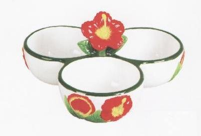 HIBISCUS 3-D Round Salsa Dip Serving Bowl *NEW*!