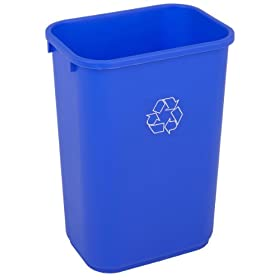 Continental HDPE Recycle Trash Can, Rectangular