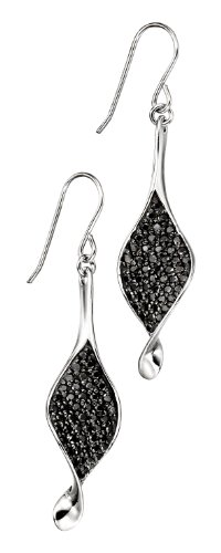 Elements Sterling Silver Ladies' E3797B Black Rhodium Pave Set Twist Earrings