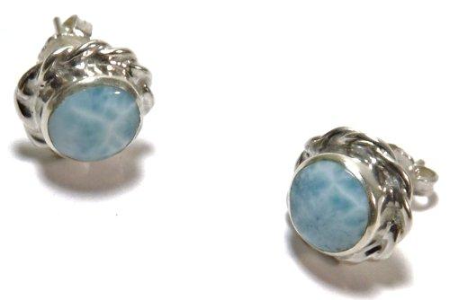 Atara is a stylish set of larimar earrings set in silver